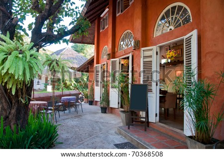 Outside view of vintage style coffee shop, Italian style