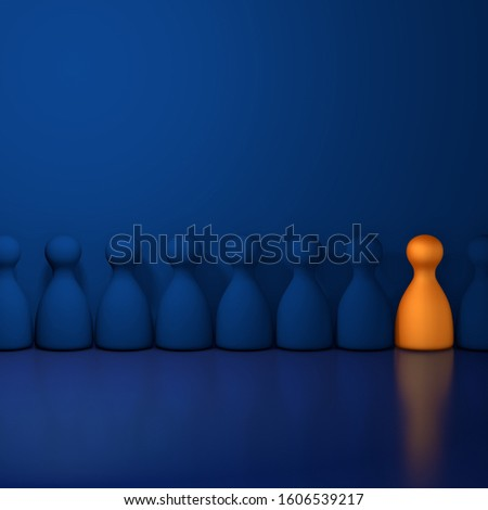 Outsider in a blue room. 3D Rendering