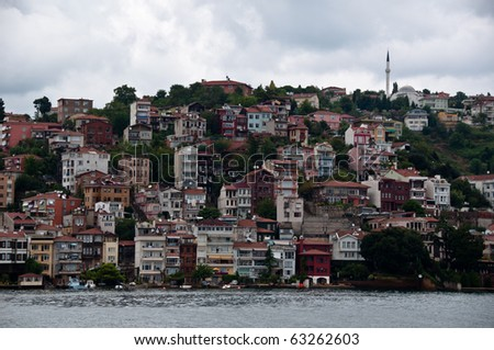 Outskirts of Istanbul city at Bosphorus river bank, Turkey