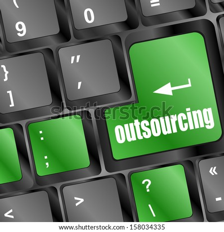 outsourcing button on computer keyboard key, raster