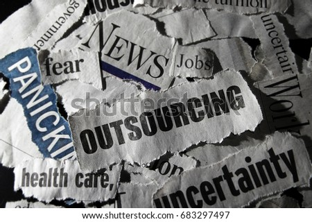 Outsourcing newspaper headline, with related negative news clippings #683297497