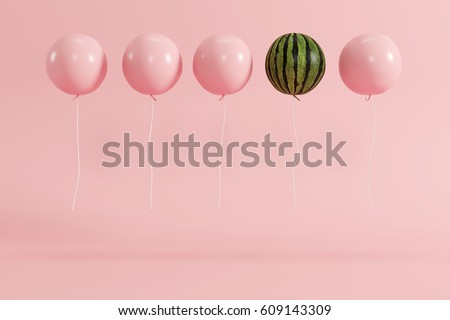 outstanding balloon watermelon concept on pastel pink background for copy space. minimal concept.
