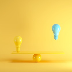 Outstanding Blue light bulb floating between yellow lightbulb on yellow seesaw, minimal idea concept.
