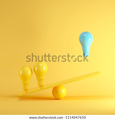 Outstanding Blue light bulb floating between yellow lightbulbs on yellow seesaw, minimal idea concept.