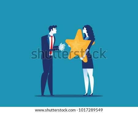 Outstanding Employee Award. Concept business vector illustration. Flat style design. - Shutterstock ID 1017289549