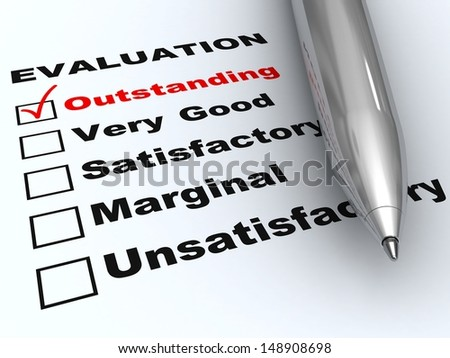 Outstanding evaluation. Pen on evaluation form, with Outstanding checked. - stock photo