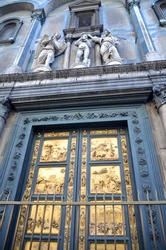 Outstanding Golden Gates of Paradise by Lorenzo Ghiberti in Baptistery of San Giovanni in Florence, Italy
