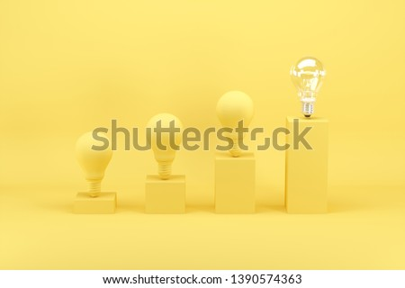 Outstanding light bulb among light bulbs painted in yellow on bar chart on yellow background. Minimal conceptual idea concept.3D Render.