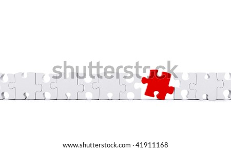 Outstanding red piece in a line puzzle isolated over a white background