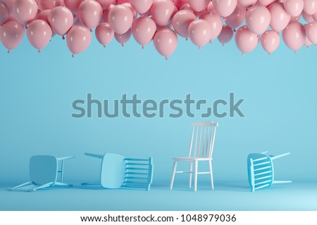 Outstanding white chair with floating pink balloons in blue pastel background room studio. minimal idea creative concept. #1048979036