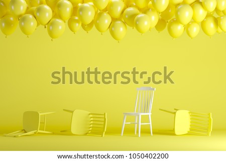 Outstanding white chair with floating yellow balloons in yellow pastel background room studio. minimal idea creative concept. #1050402200