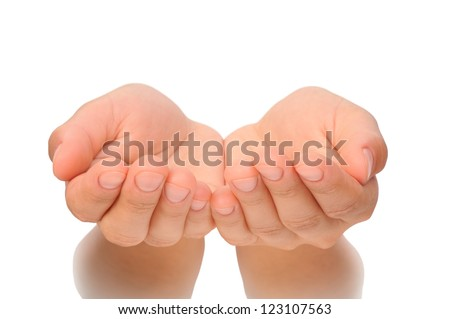 Outstretched cupped hands of young woman - isolated on white background