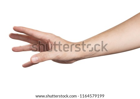 Outstretched hand, going to catch, grab or take something or somebody, isolated on white background