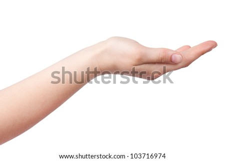 Outstretched hand with the palm on a white background