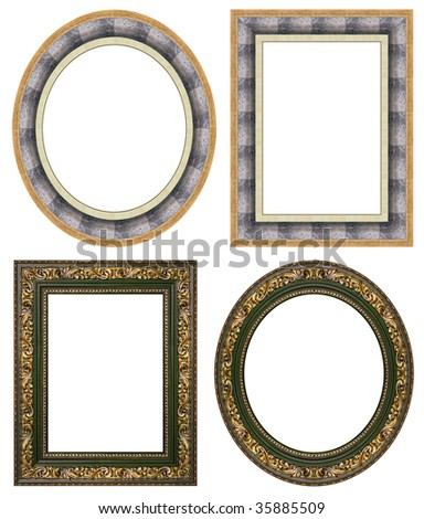 Oval and rectangular gold picture frame with a decorative pattern