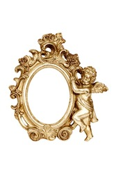Oval baroque gold picture frame with cupid isolated on white with clipping path.