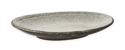 Oval ceramic plate, Empty plate with granite texture, isolated on white background with clipping path, Side view