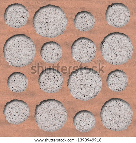 Oval decorative tiles - Abstract paneling pattern, Circular decorative pattern - Continuous replication, clay surface #1390949918