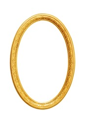 Oval empty wooden and gold gilded frame isolated on white background