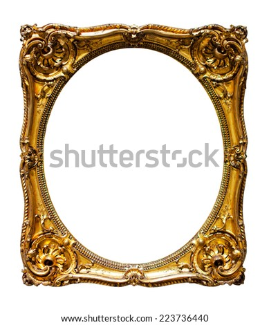 oval gold picture frame. Isolated over white background