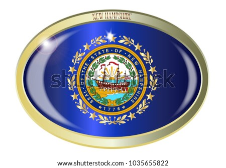 Oval Metal Button With The New Hampshire State Seal Isolated On A
