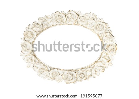 Oval picture frame with rose decor, clipping path included.