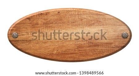 Oval wooden sign made of natural wood and fastened with nails #1398489566