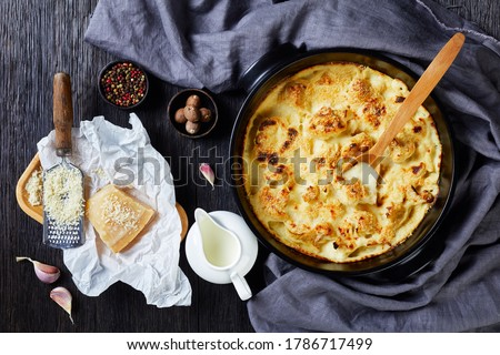 Oven baked cauliflower cheese - vegetable side dish, served on a black baking dish on wooden background with ingredients: garlic, nutmeg, peppercorns, milk, parmesan cheese, flat lay, close-up  Stock photo ©