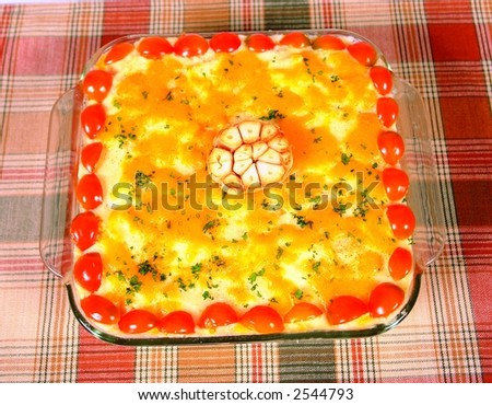 Oven baked garlic and tomato pie