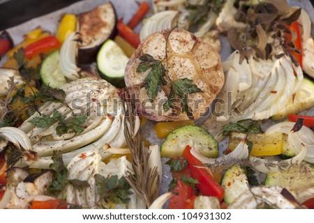 oven baked summer vegetables - food background