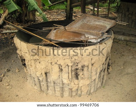 Oven for roasting cassava, Amazon, Brazil