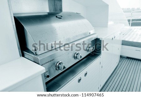 oven on the deck of a yacht, for outdoor use only.