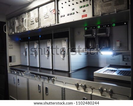 ovens  and coffee brewer in galley/kitchen on Airbus A380 airplane Stockfoto ©