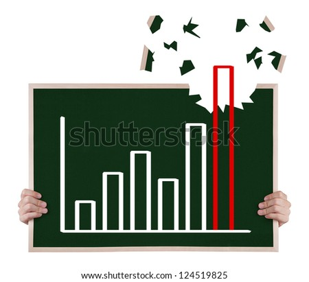 over achievement  growth graph on blackboard with hands