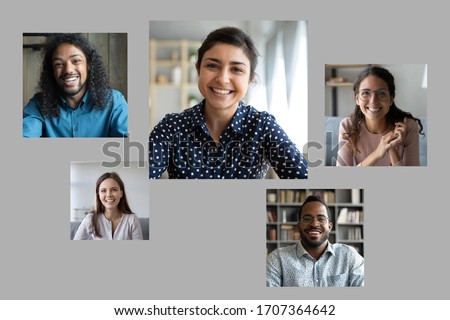 Over gray background photos of diverse young girls and guys, indian african mixed-race and caucasian entrepreneurs involved in group video call. Distant virtual communication application advertisement