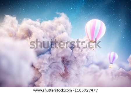 Over the Clouds. Unusual 3d illustration of an air balloon over Fantastic clouds. Сток-фото ©