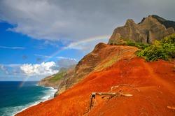 Over the rainbow on Napali Coast, Kalalau Trail, Hawaii