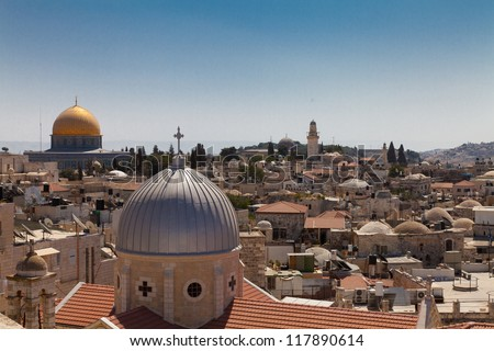 over the rooftops of Jerusalem