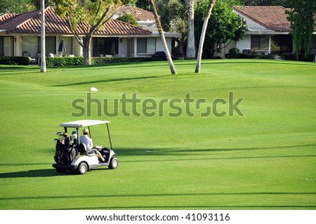 over view of Golf cart on fairway