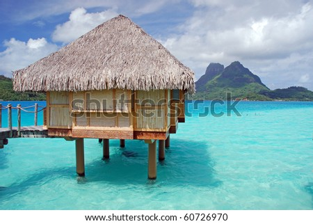 over water bungalow and otemanu mountain