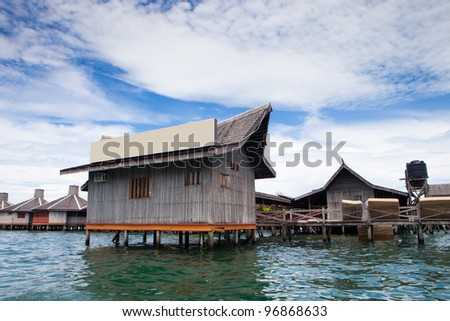 Over water bungalow  with blue sky