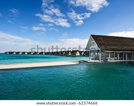 over water house and swimming pool in beach resorts