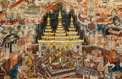 Over 300 year old mural paintings in Buak Khrok Luang  Temple  Chiangmai  Thailand.