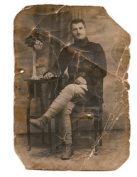 Over 100 years old photo of a Romanian soldier