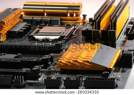 Overall focused motherboard PC equipped with a processor and memory, power cascade and coolers #285034310