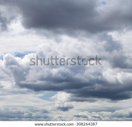 Overcast clouds. Storm sky, rainy clouds over horizon