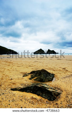Overcast day at the beach - stock photo