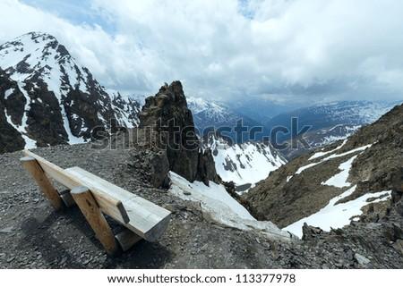 Overcast mountain view from the Karlesjoch cable ski lift  upper station (3108m., near Kaunertal Gletscher on Austria-Italy border)
