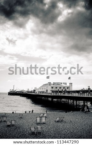 Overcast sky above Brighton Palace Pier, high contrast
