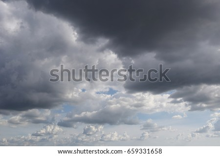 Overcast sky of rain clouds forming in the sky in concept of climate,Poor weather in the daytime.